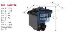 Ufi Filtros 2402700 - 4028.FILTRO COMBUSTIBLE TIP.COMPAC
